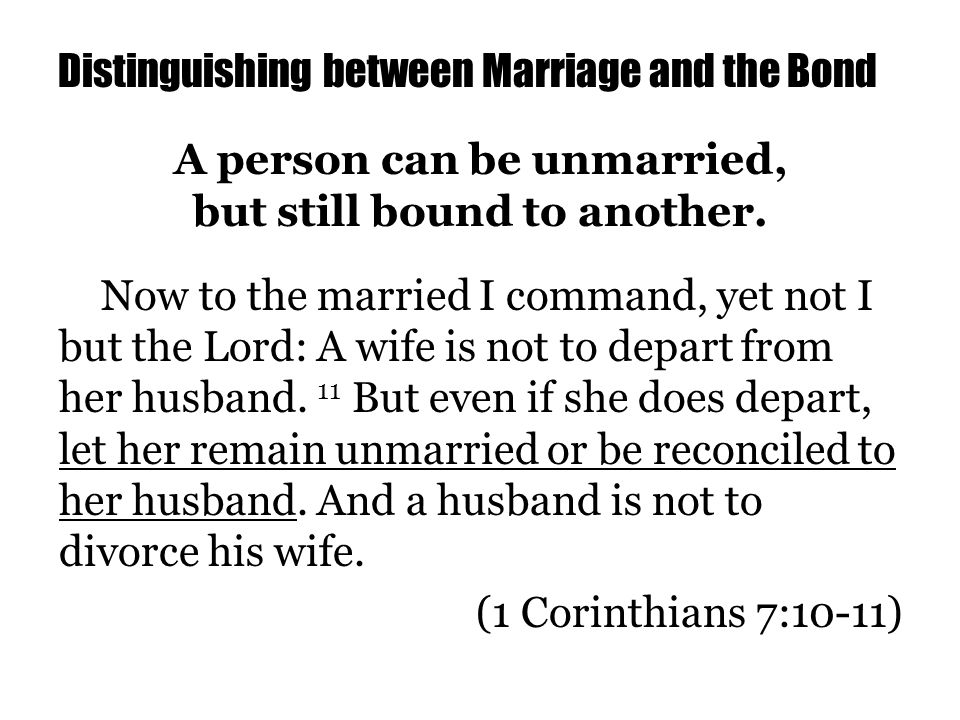 Distinguishing between Marriage and the Bond