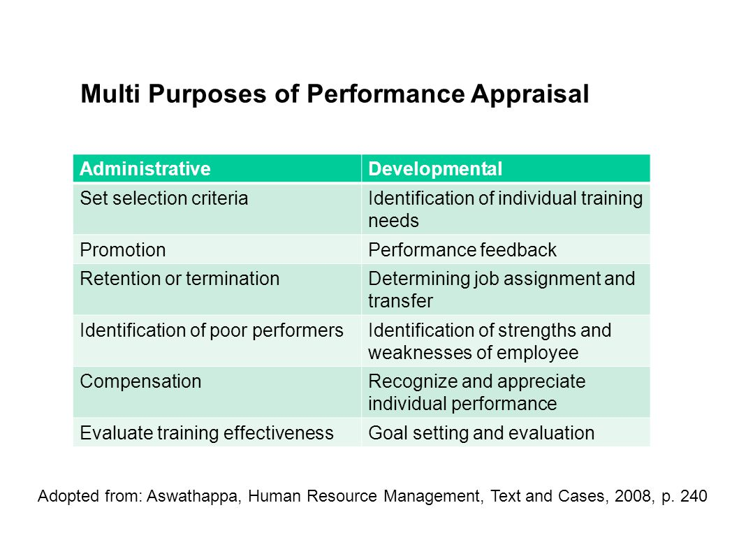 developmental purpose of performance appraisal