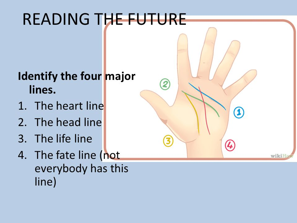 READING THE FUTURE Identify the four major lines. The heart line