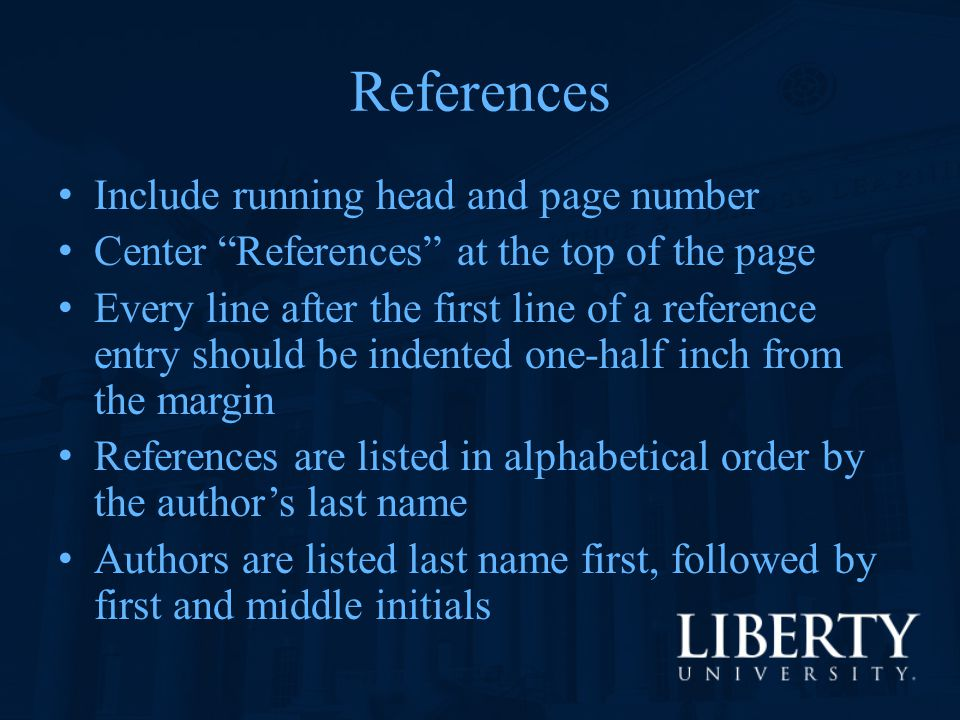 References Include running head and page number