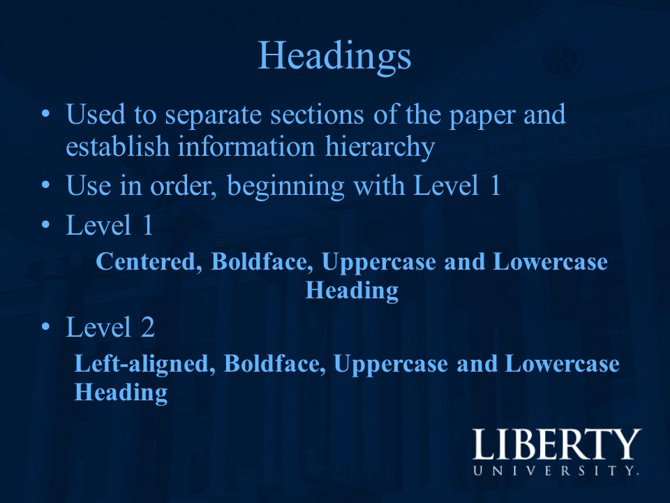 Centered, Boldface, Uppercase and Lowercase Heading