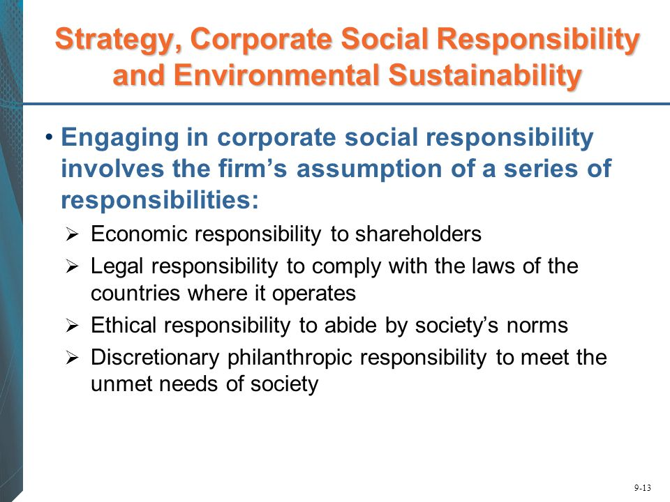 Strategy, Corporate Social Responsibility and Environmental Sustainability