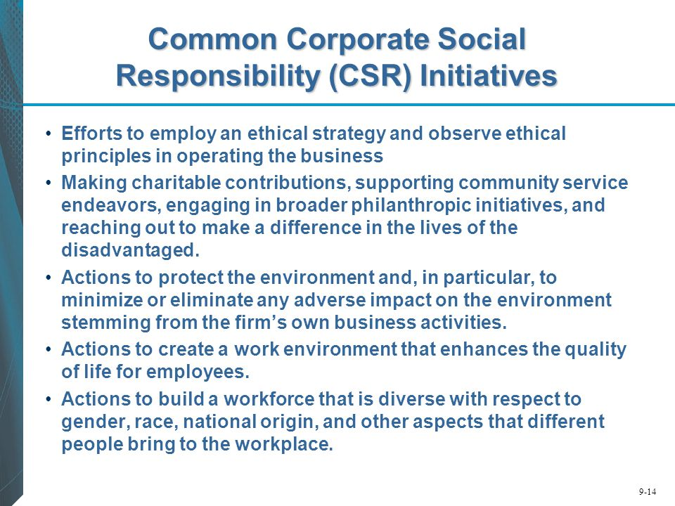 Common Corporate Social Responsibility (CSR) Initiatives