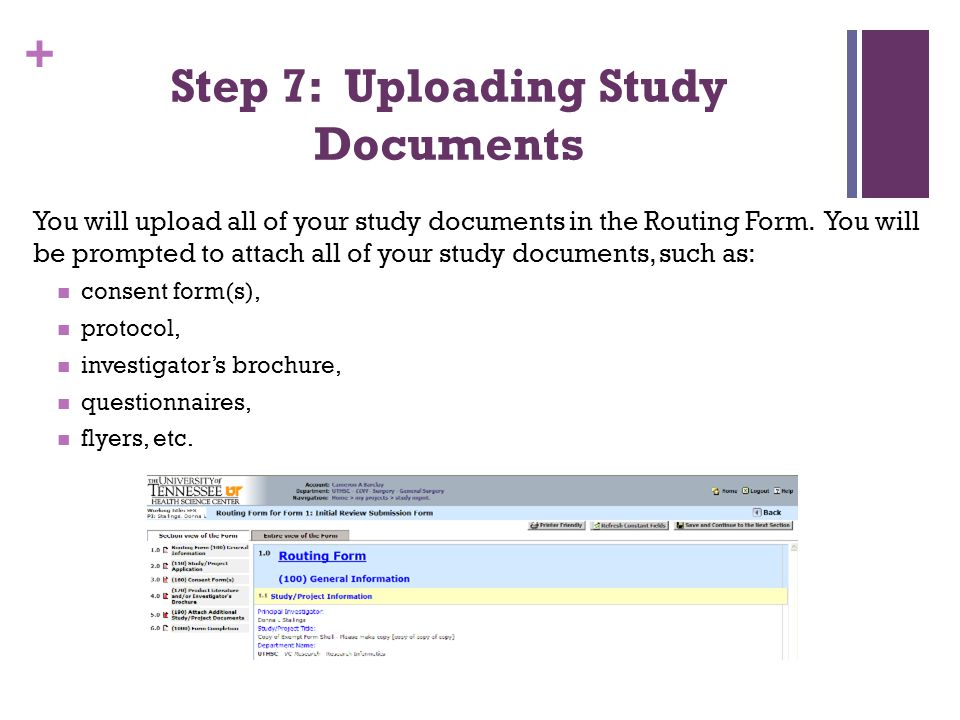 Step 7: Uploading Study Documents