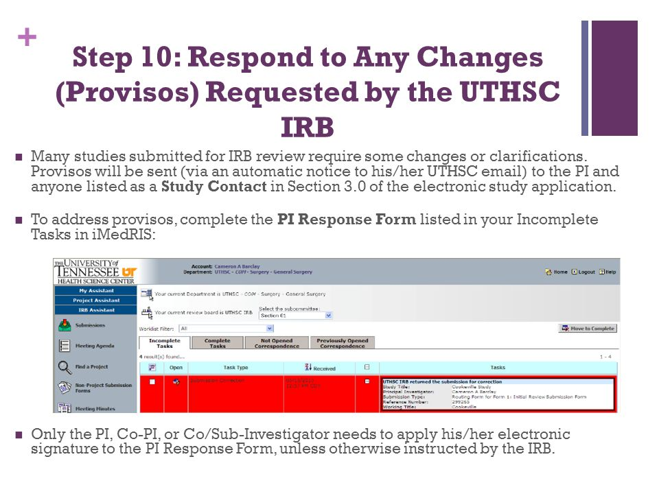 Step 10: Respond to Any Changes (Provisos) Requested by the UTHSC IRB