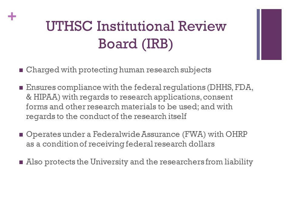 UTHSC Institutional Review Board (IRB)