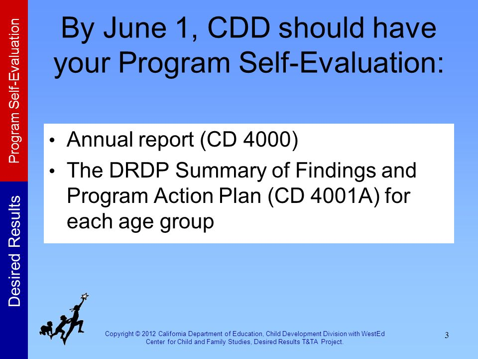 By June 1, CDD should have your Program Self-Evaluation: