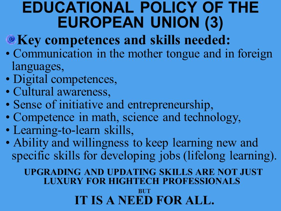 EDUCATIONAL POLICY OF THE EUROPEAN UNION (3)