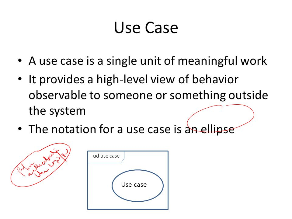Use Case A use case is a single unit of meaningful work