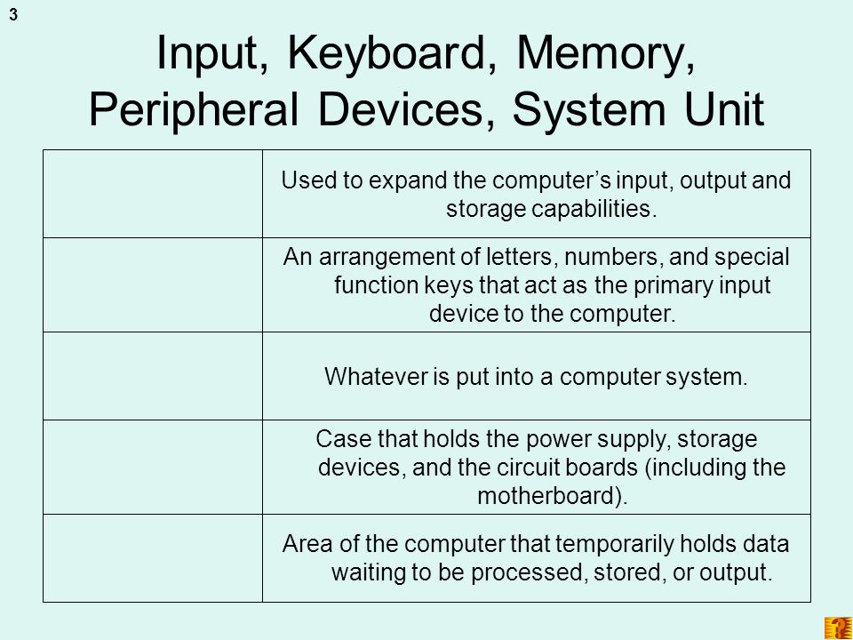 Input, Keyboard, Memory, Peripheral Devices, System Unit