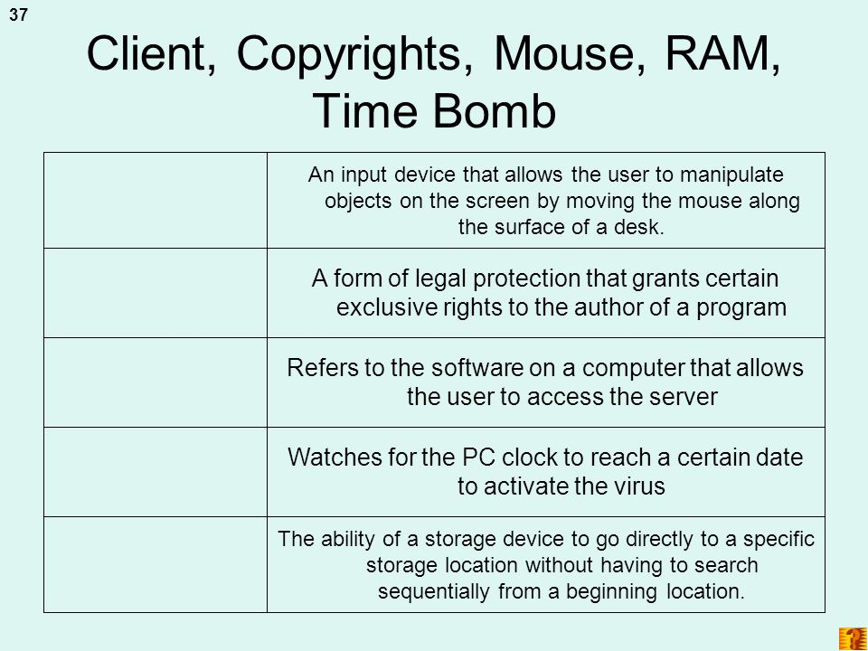Client, Copyrights, Mouse, RAM, Time Bomb