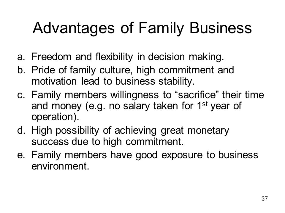 family owned business advantages