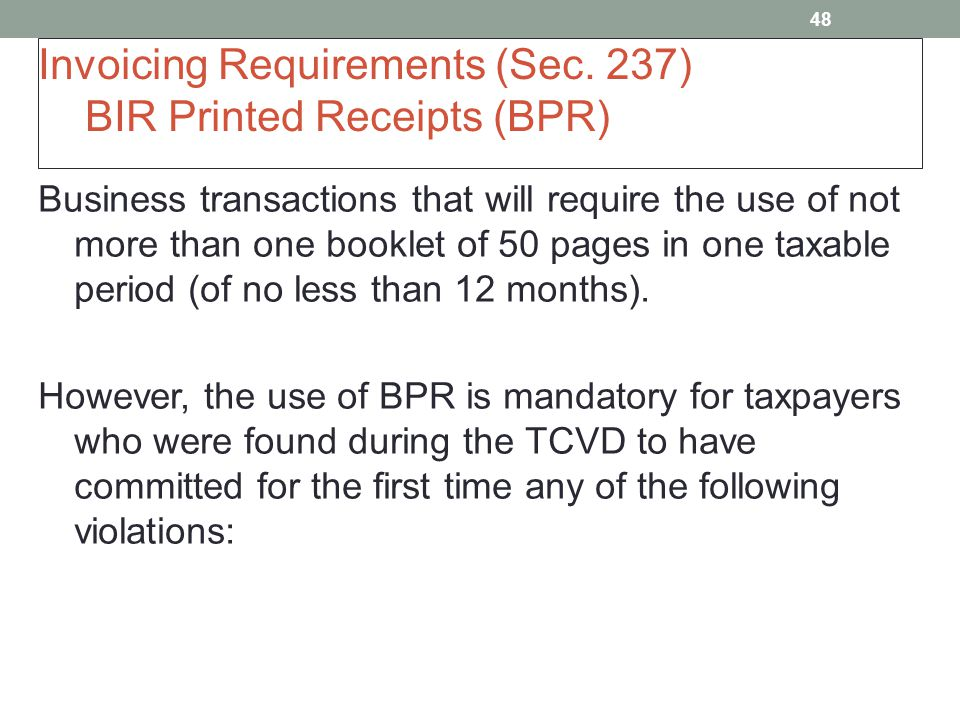Bookkeeping, Invoicing and Registration Requirements - ppt