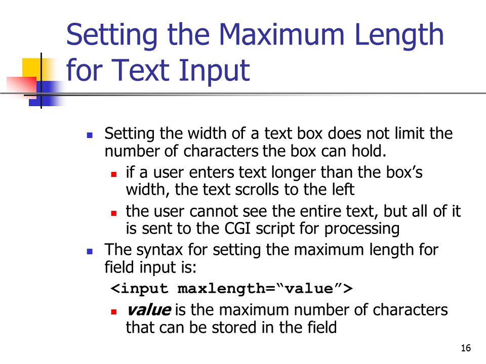 Setting the Maximum Length for Text Input