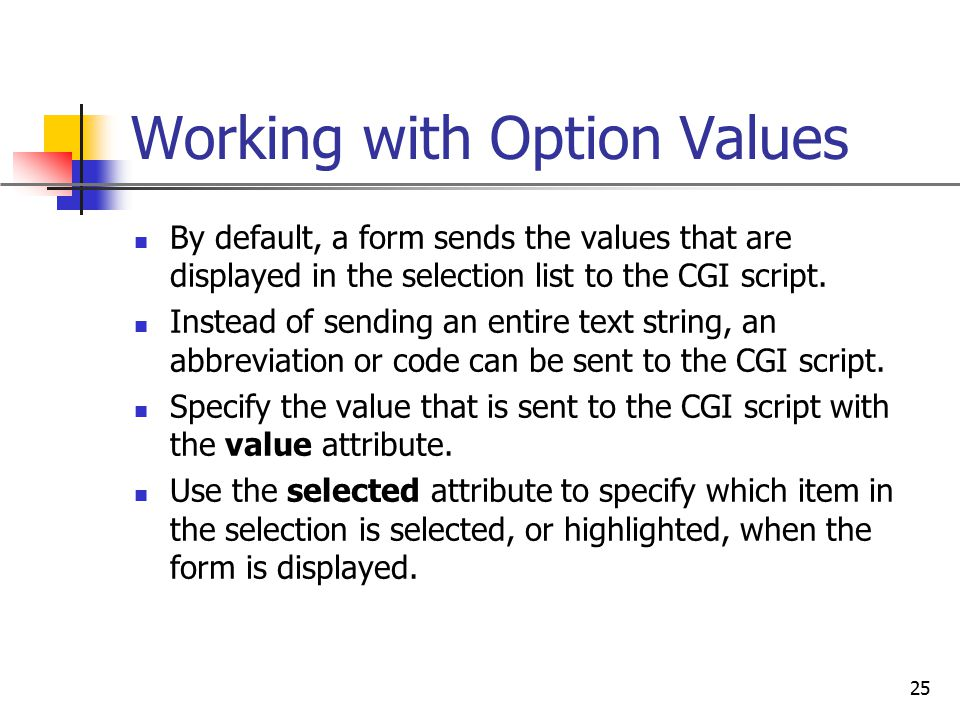 Working with Option Values