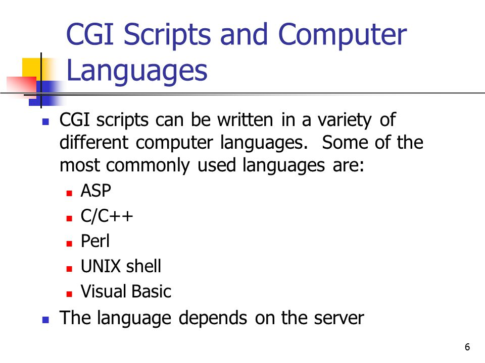 CGI Scripts and Computer Languages