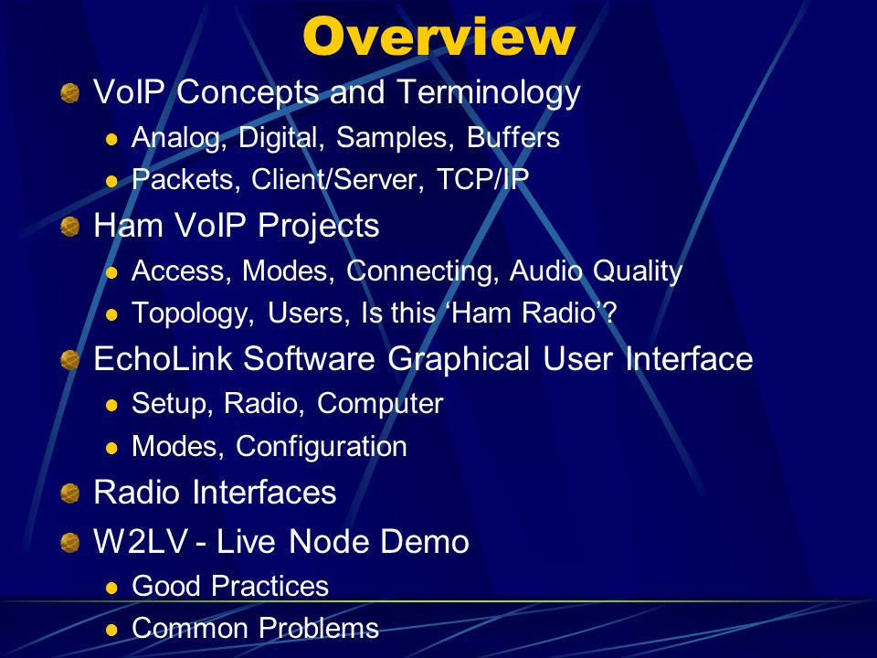 Amateur Radio meets Voice over the Internet Protocol - ppt video