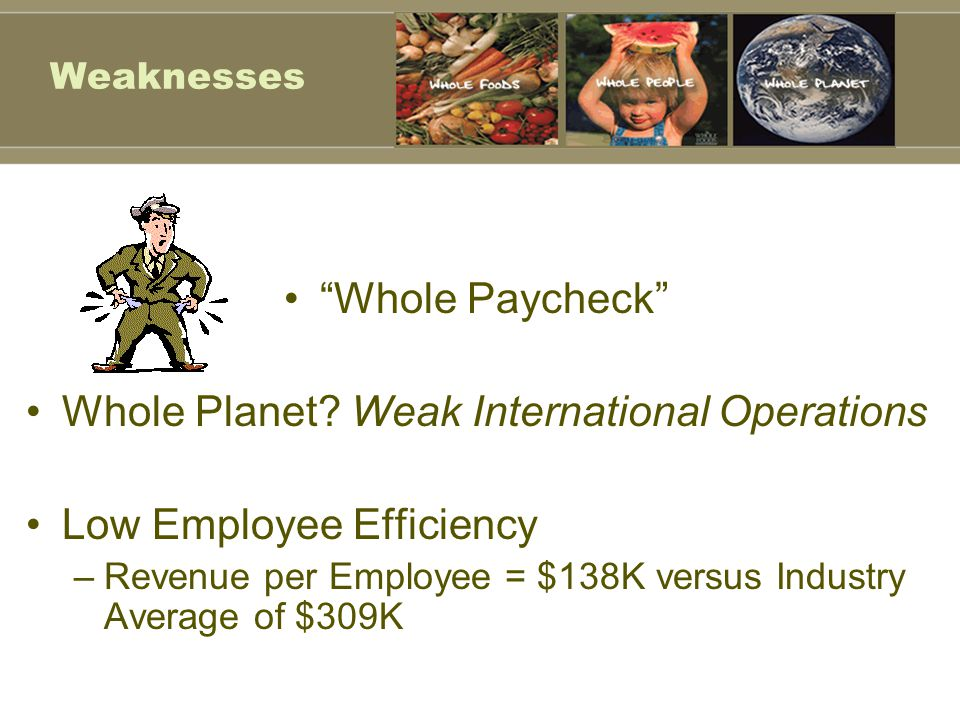Whole Planet Weak International Operations Low Employee Efficiency