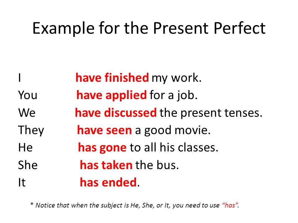 Example for the Present Perfect