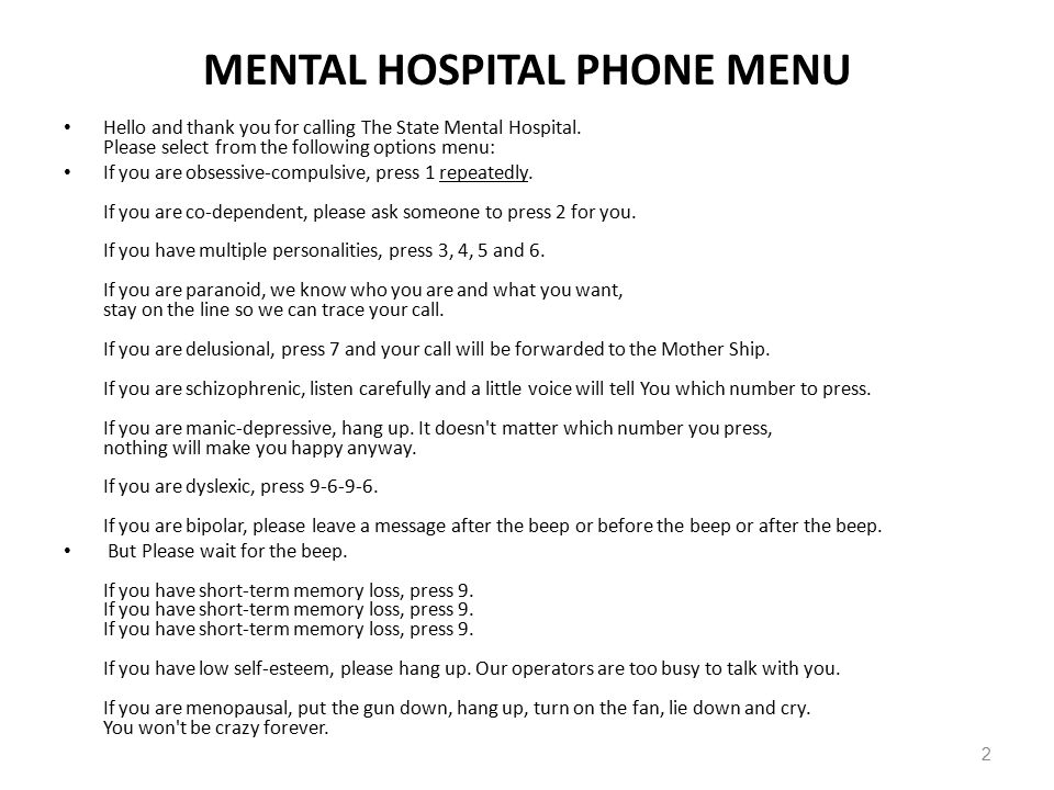 Mental hospital phone number