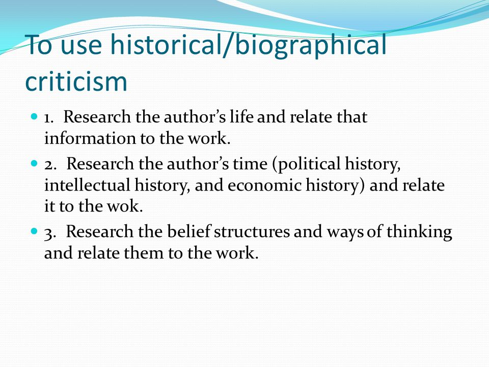 Example Of Biographical Criticism Analysis