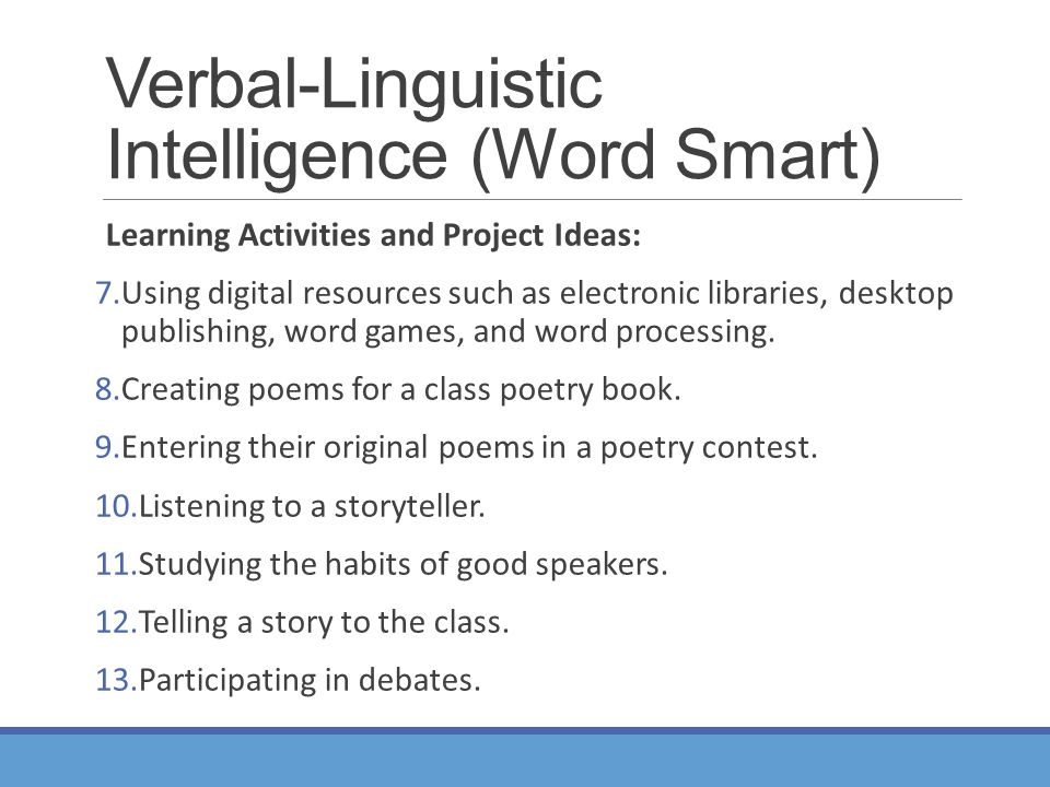 verbal linguistic intelligence examples