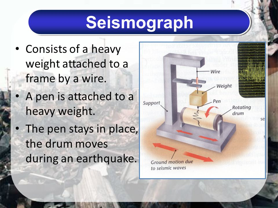 Seismograph Consists of a heavy weight attached to a frame by a wire.