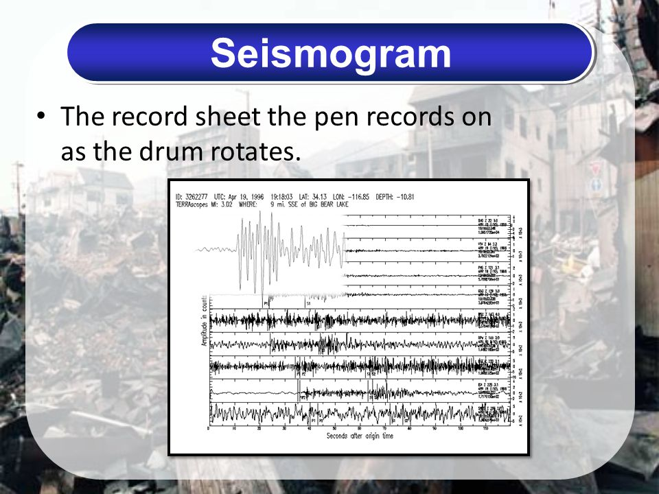 Seismogram The record sheet the pen records on as the drum rotates.