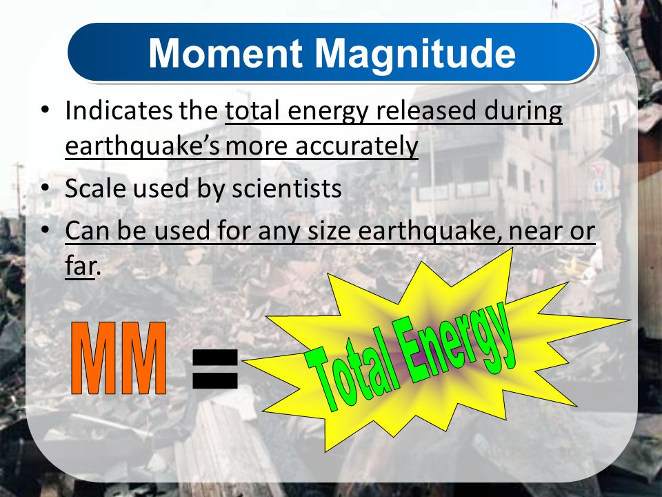 Moment Magnitude Total Energy MM =