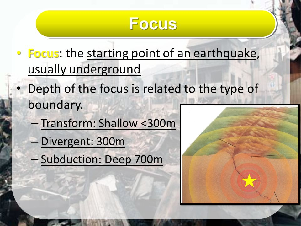 Focus Focus: the starting point of an earthquake, usually underground