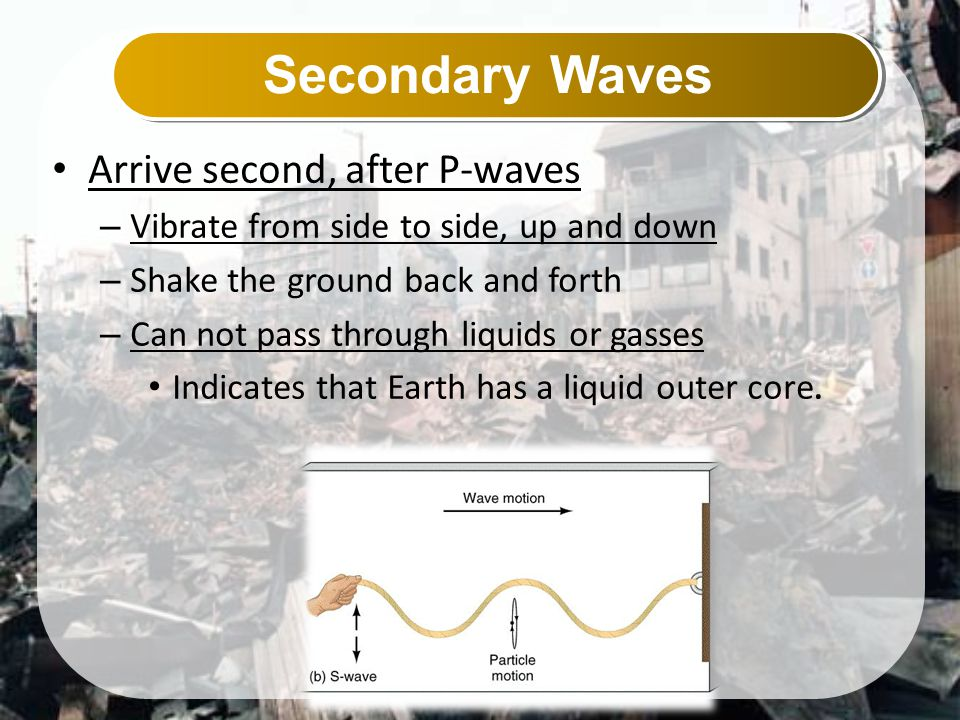 Secondary Waves Arrive second, after P-waves