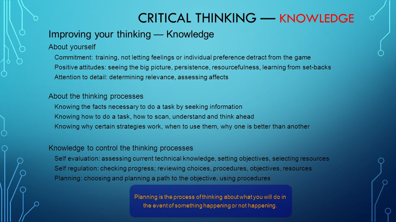 Critical Thinking — Knowledge