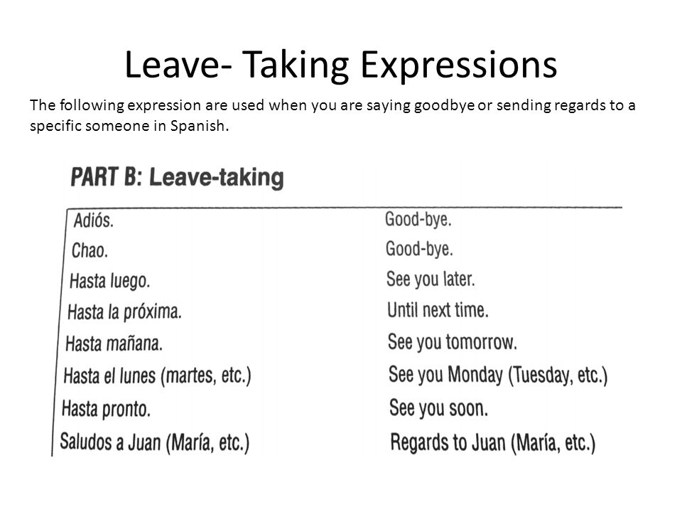 Leave taking expression and introductions in spanish ppt video 2 leave taking expressions m4hsunfo