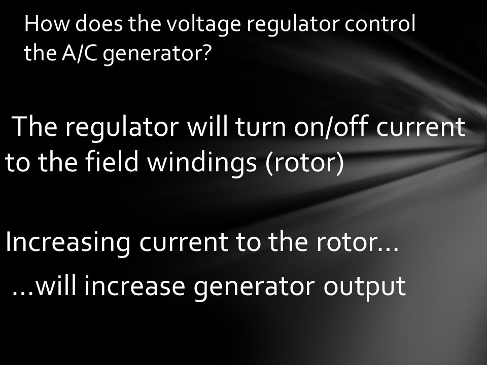 How does the voltage regulator control the A/C generator