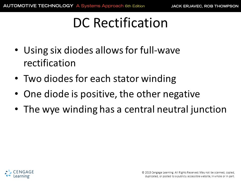 DC Rectification Using six diodes allows for full-wave rectification