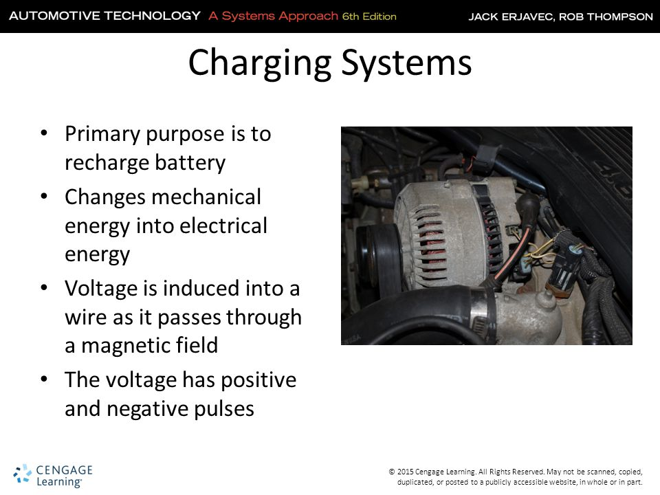 Charging Systems Primary purpose is to recharge battery