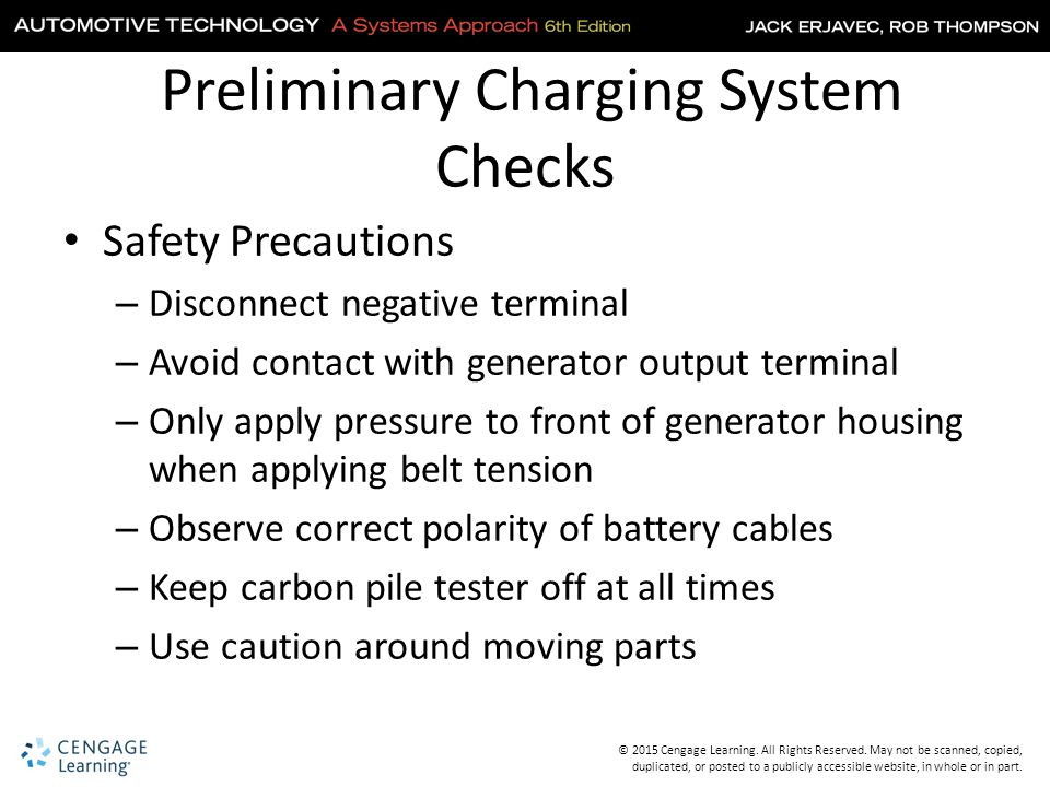 Preliminary Charging System Checks