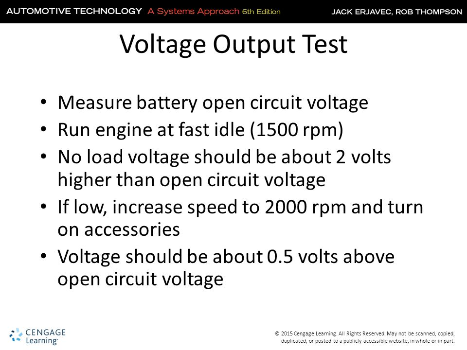 Voltage Output Test Measure battery open circuit voltage