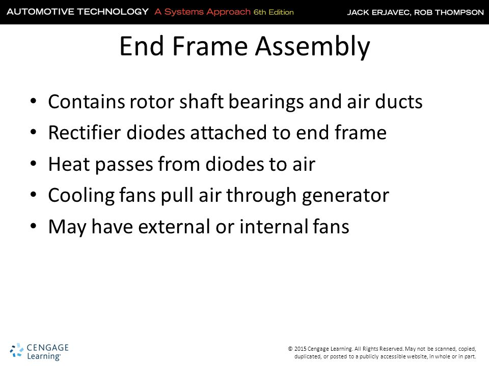 End Frame Assembly Contains rotor shaft bearings and air ducts