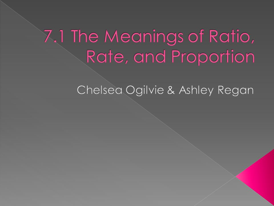 7.1 The Meanings of Ratio, Rate, and Proportion