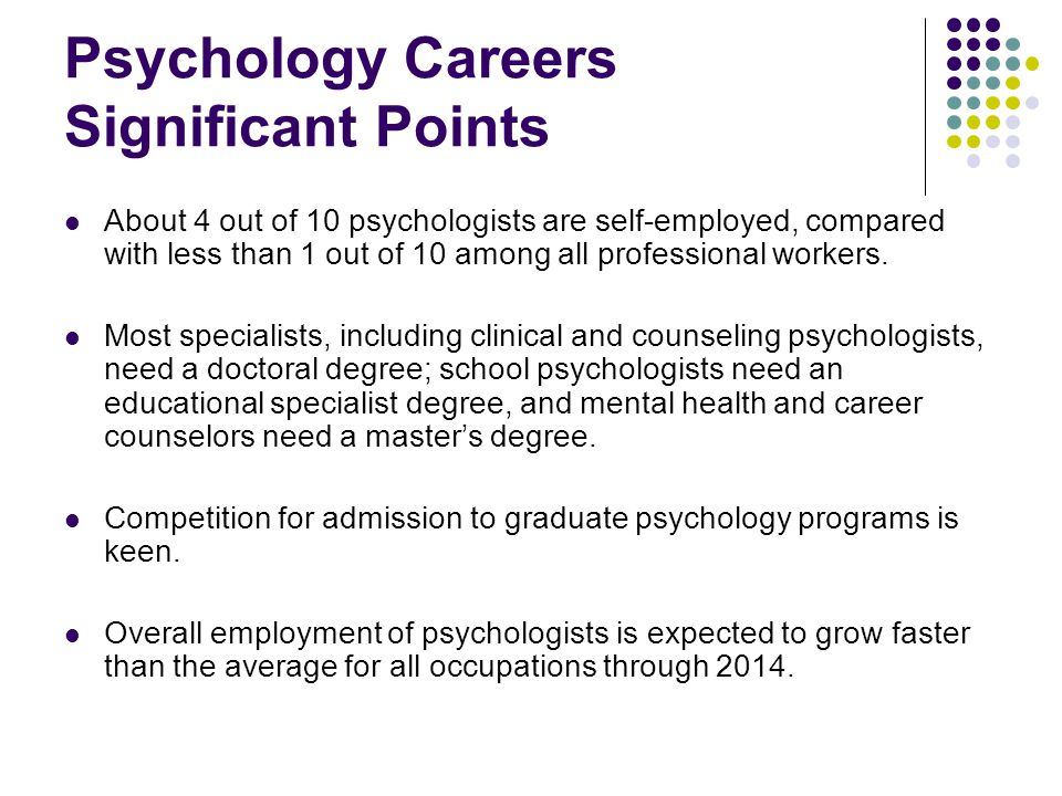 Psychology Careers Significant Points