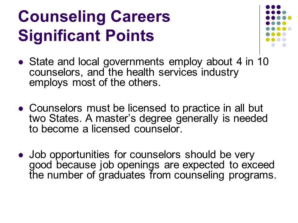 Counseling Careers Significant Points