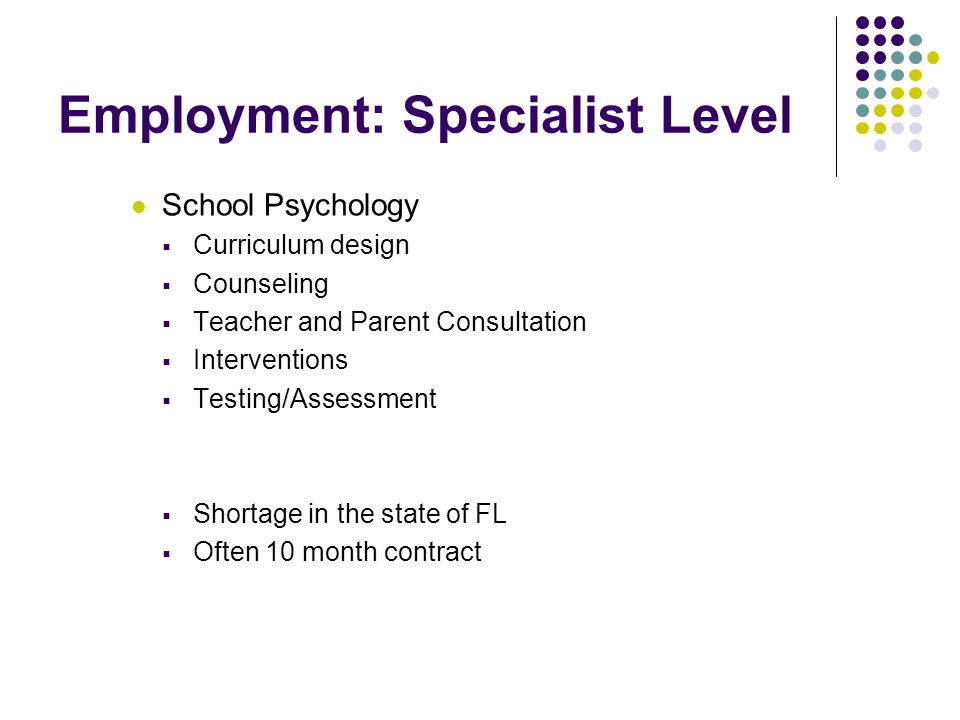 Employment: Specialist Level