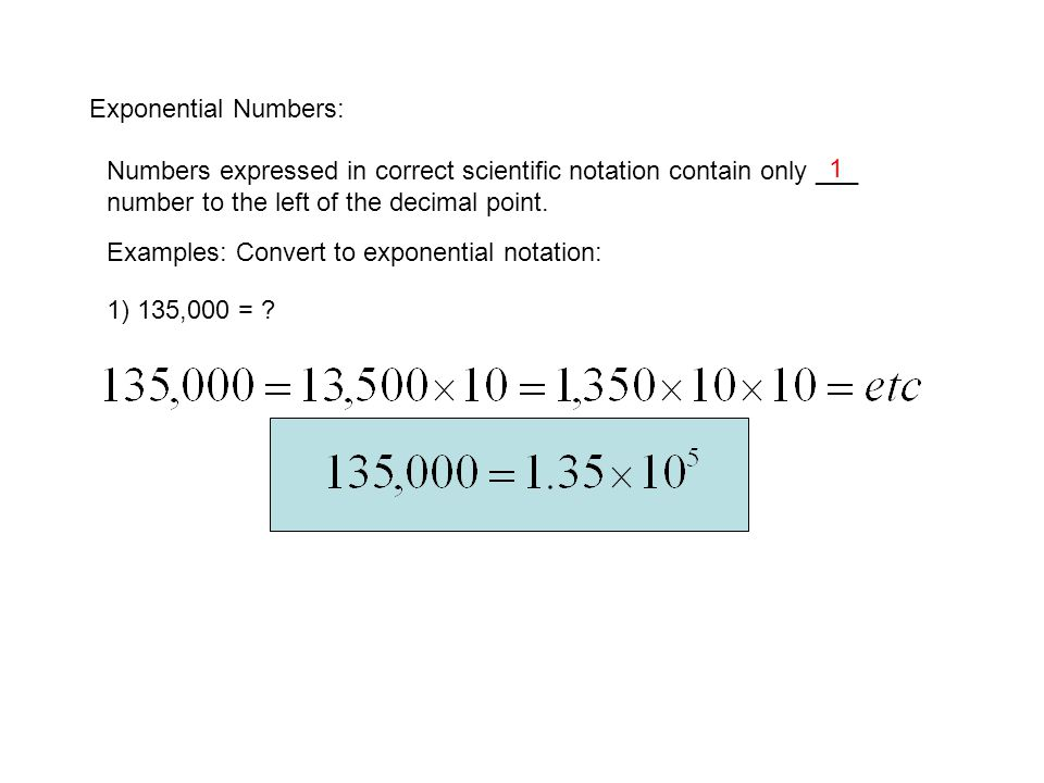 Exponential Notation Significant Figures