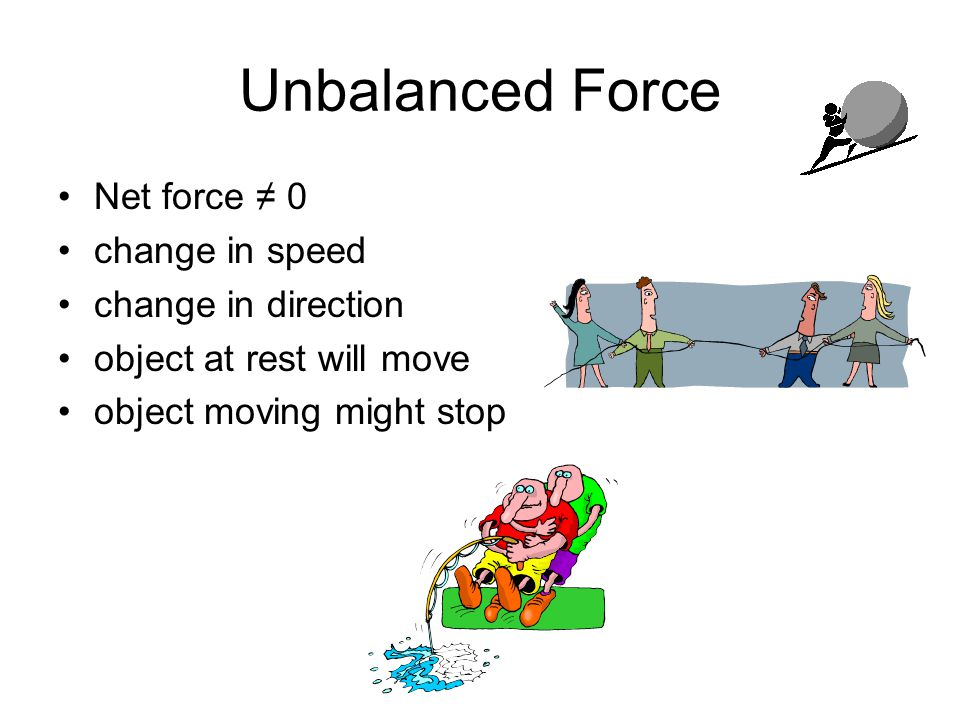Unbalanced Force Net force ≠ 0 change in speed change in direction