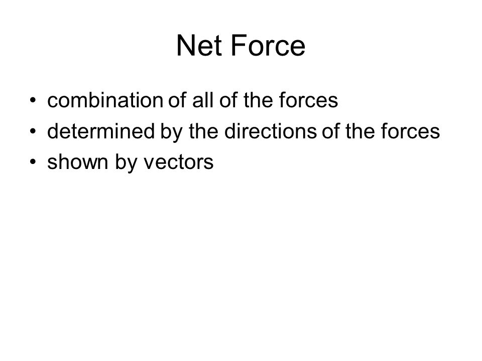 Net Force combination of all of the forces