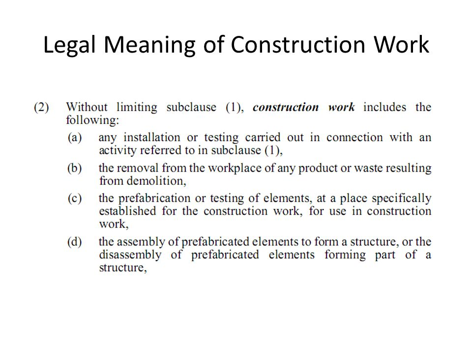 Legal Meaning of Construction Work