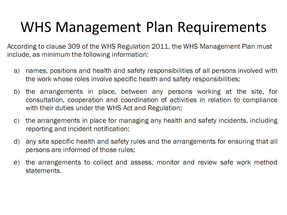 14 Whs Management Plan Requirements