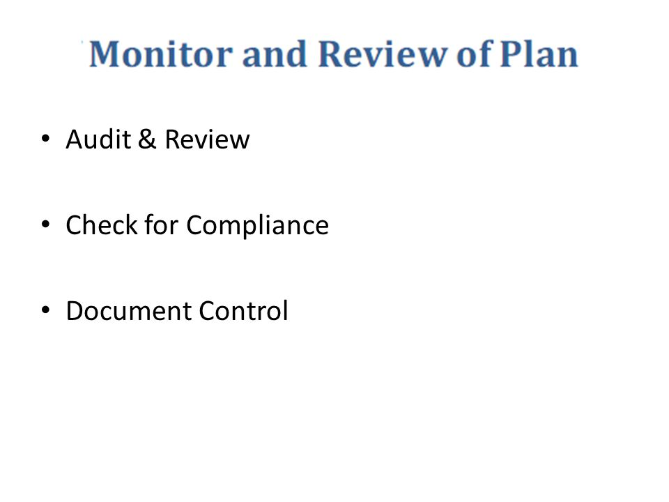 Audit & Review Check for Compliance Document Control