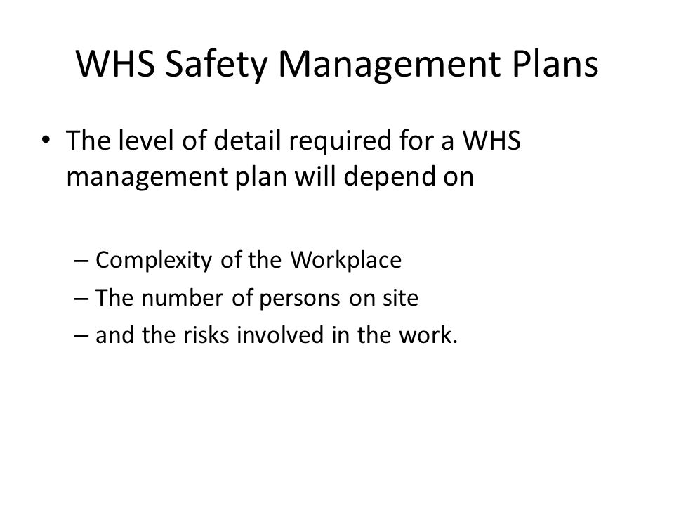 WHS Safety Management Plans